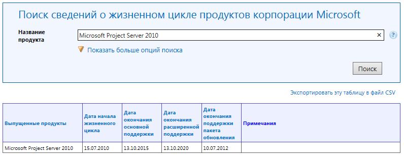 MS Project 2010, MS Project Server 2010: Сведения о сроках поддержки Microsoft Project Server 2010 на сайте корпорации Microsoft